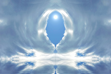 entrance to heaven clouds water reflection in the center window in the blue sky shining sun ticket to Paradise