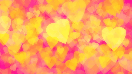 abstract background of gold yellow hearts plastic pink background for web design Stock fotó