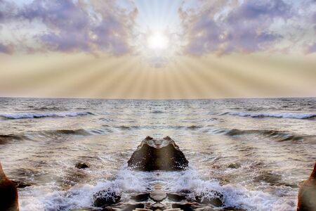 sea waves foam sea  top view. Beauty nature background. sun's rays God