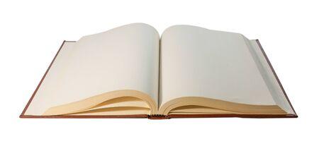 Libro abierto hojas en blanco aisladas sobre fondo blanco closeup Foto de archivo