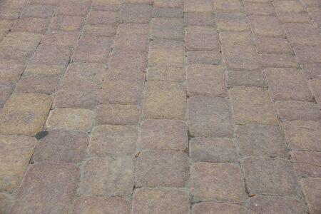 paving stones. improvement of pavements and cities closeup Foto de archivo