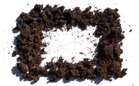 frame pieces of fertile soil with garden slide isolated on white background