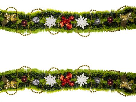 Christmas green garland with beads balls snowflakes pine cones Christmas decoration isolated white color Invitation, greeting card. Party backdrop.