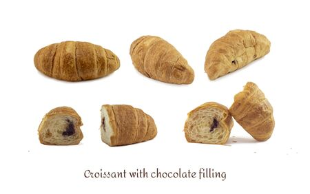 Seth Croissants chocolate filling different camera angles whole and slices isolated white background. food concept