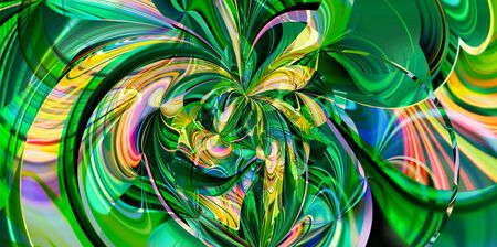 abstract fantasy background on the theme morning day in the jungle or vacation travel exotic. modern design gradients lines geometry green yellow blue colors