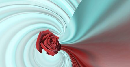 simple design red large rose on a red abstract background wave lines on light bluish steel trend color 2020. Banner, flyer, brochure.