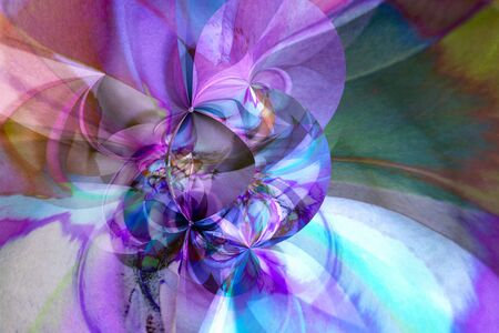 abstract floral beautiful purple pink modernline bends the petals digital imitation of watercolor  background Stok Fotoğraf