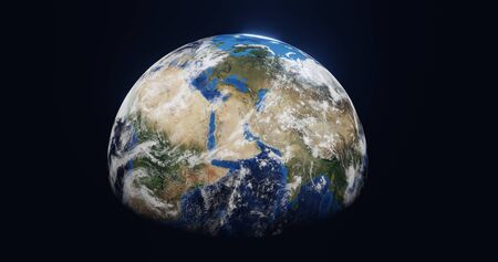 3D rendering of the planet earth from space in the clouds you can see Africa Asia Europe on a black background closeup