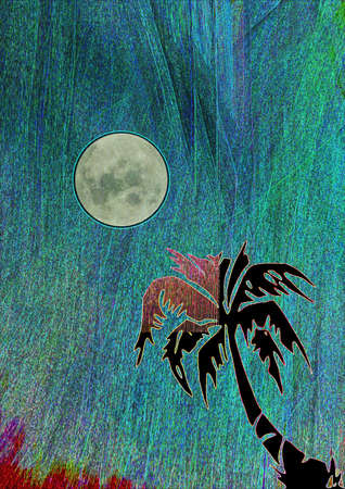 moonlit night in the tropics under a palm tree spectacular lighting. art illustration