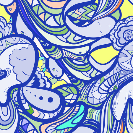 indie: seamless pattern with doodle funny monsters