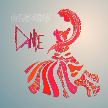 thai dance: Vector banner for design. dance, asian, ethnic, India Illustration