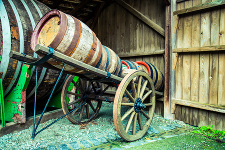 Wine barrel on horse cart Archivio Fotografico