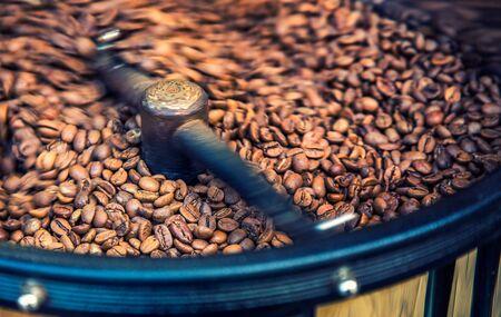 Roasted Coffee Beans in Coffee Roasting Machine