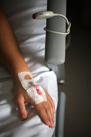 Blood Line Injection on Patients Hand Vein Reklamní fotografie