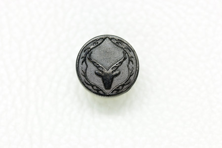Round Metal Jeans Button in vintage style, deer symbol