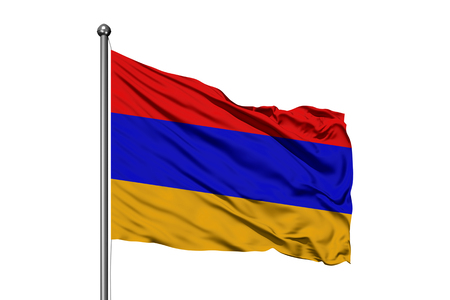 Flag of Armenia waving in the wind, isolated white background. Armenian flag.