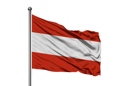 Flag of Austria waving in the wind, isolated white background. Austrian flag. Stock Photo