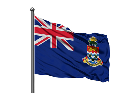 Flag of Cayman Islands waving in the wind, isolated white background.