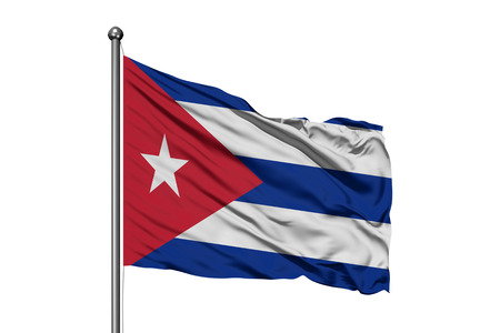 Flag of Cuba waving in the wind, isolated white background. Cuban flag. Stock Photo