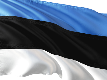 Flag of Estonia waving in the wind, isolated white background. Stock Photo