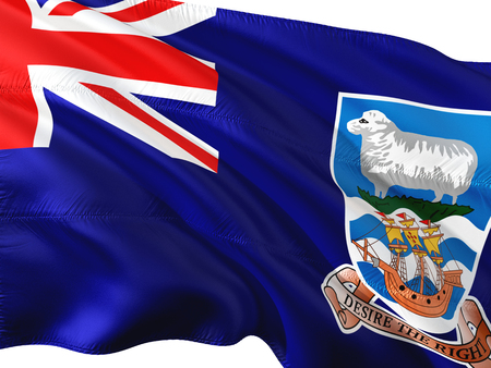 Flag of Falkland Islands waving in the wind, isolated white background. Stock Photo