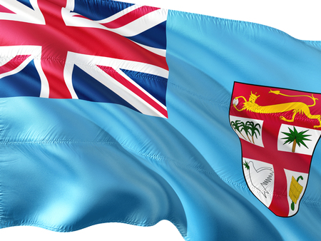 Flag of Fiji waving in the wind, isolated white background. Stock Photo