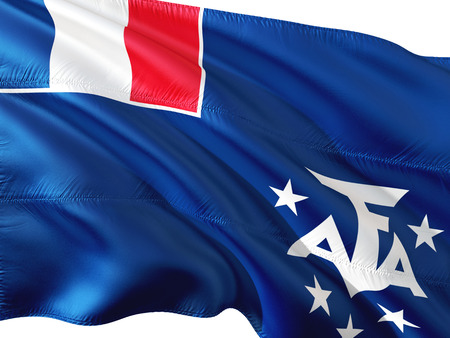 Flag of French Southern and Antarctic Lands waving in the wind, isolated white background.