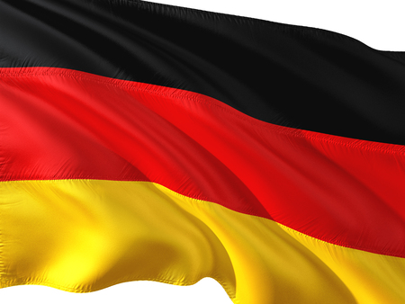 Flag of Germany waving in the wind, isolated white background. Stock Photo