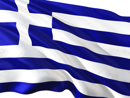 Flag of Greece waving in the wind, isolated white background. Stock Photo
