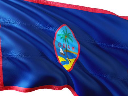 Flag of Guam waving in the wind, isolated white background.