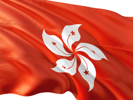 Flag of Hong Kong waving in the wind, isolated white background. 3D rendering fabric.