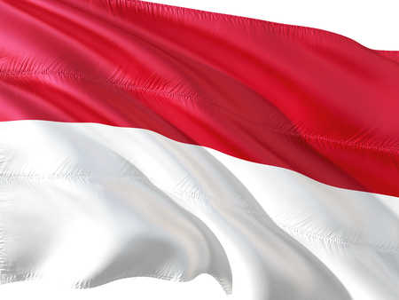 Flag of Indonesia waving in the wind, isolated white background. Stock Photo