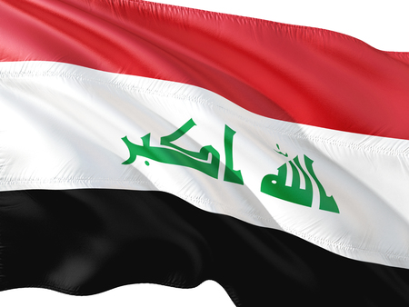 Flag of Iraq waving in the wind, isolated white background.