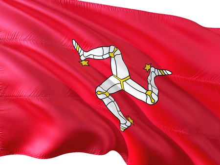 Flag of Isle Of Man waving in the wind, isolated white background. Stock Photo