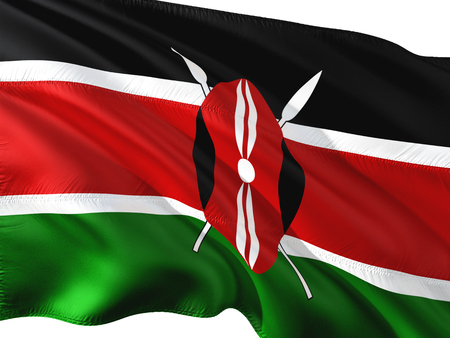 Flag of Kenya waving in the wind, isolated white background.