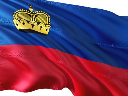 Flag of Liechtenstein waving in the wind, isolated white background.