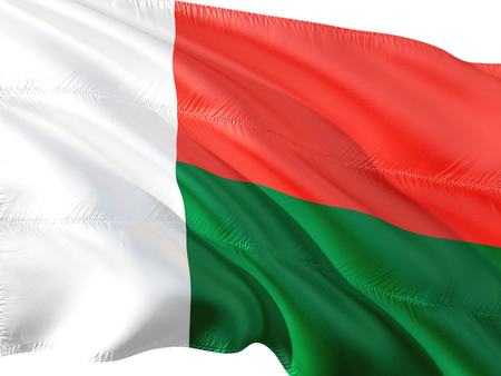 Flag of Madagascar waving in the wind, isolated white background.