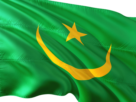 Flag of Mauritania waving in the wind, isolated white background.f Фото со стока
