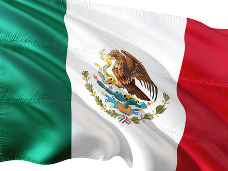 Flag of Mexico waving in the wind, isolated white background.