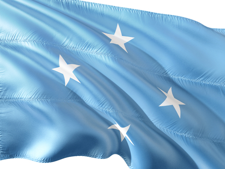 Flag of Federated States of Micronesia waving in the wind, isolated white background.