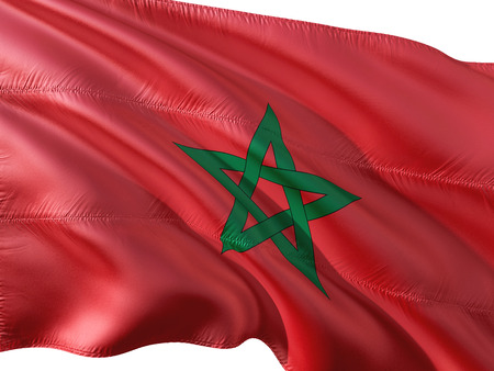 Flag of Morocco waving in the wind, isolated white background.