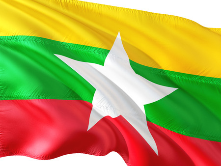 Flag of Myanmar (Burma) waving in the wind, isolated white background. 3D rendering fabric.