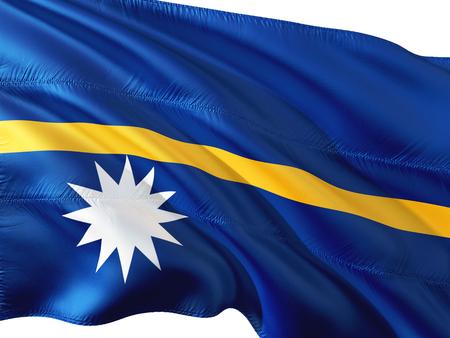 Flag of Nauru waving in the wind, isolated white background.