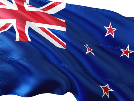 Flag of New Zealand waving in the wind, isolated white background. Stock Photo