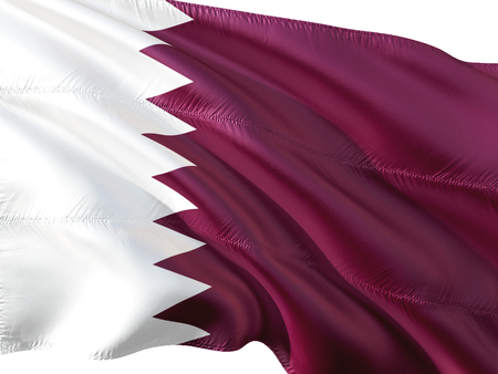 Flag of Qatar waving in the wind, isolated white background. Stock Photo