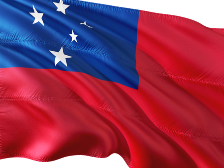 Flag of Samoa waving in the wind, isolated white background. Stock Photo