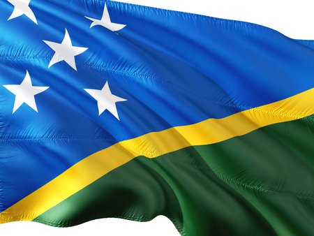 Flag of Solomon Islands waving in the wind, isolated white background. 3D rendering fabric. Stock Photo