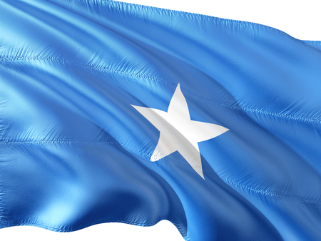 Flag of Somalia waving in the wind, isolated white background. 3D rendering fabric. Stock Photo
