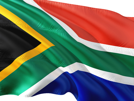 Flag of South Africa waving in the wind, isolated white background. Stock Photo