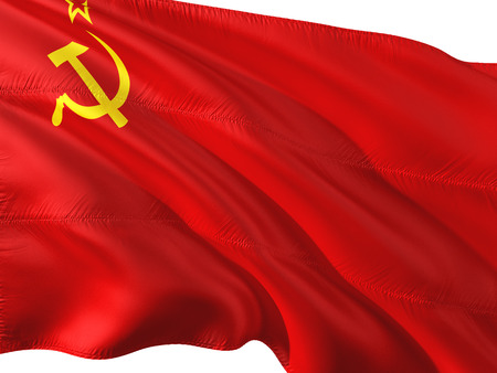 Flag of Soviet Union waving in the wind, isolated white background. Stock Photo
